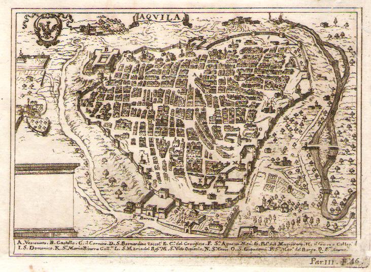 L'Aquila map in 1703